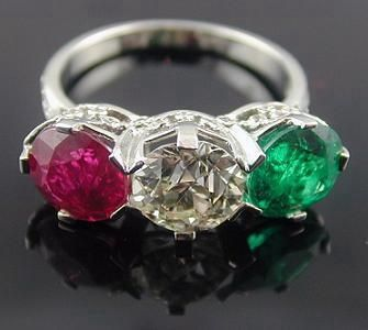 Platinum Diamond Emerald & Ruby Ring - Yafa Jewelry