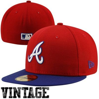 New Era Atlanta Braves Cooperstown Collection 59fifty Fitted Hat Red Royal Blue Gorras Cool Gorras Gorra