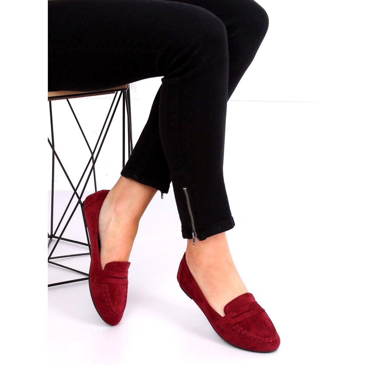 Mokasyny Damskie Bordowe B2030 Wine Czerwone Mule Shoe Shoes Slippers