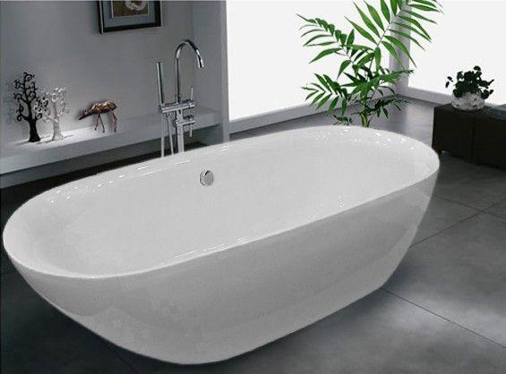 Freistehende Badewanne ROMA ACRYL weiß BS-916 180x84 inkl. Ab ... | {Badewanne halb freistehend 21}