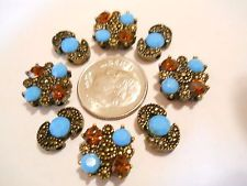 8 ANTIQUE GOLD PLATED & TURQUOISE & AMBER CRYSTALS 2 HOLE SLIDER SPACER BEADS