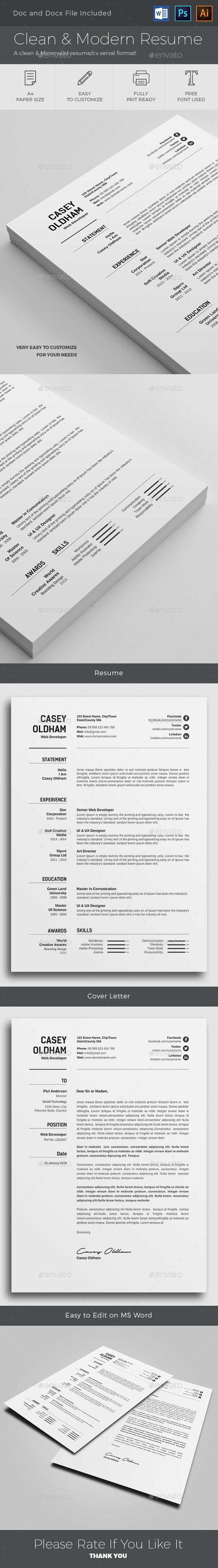 Clean u0026 Modern Resume Template PSD AI