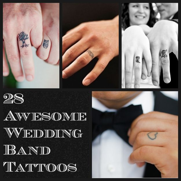 28 Awesome Wedding Band Tattoos this is happening since my silly