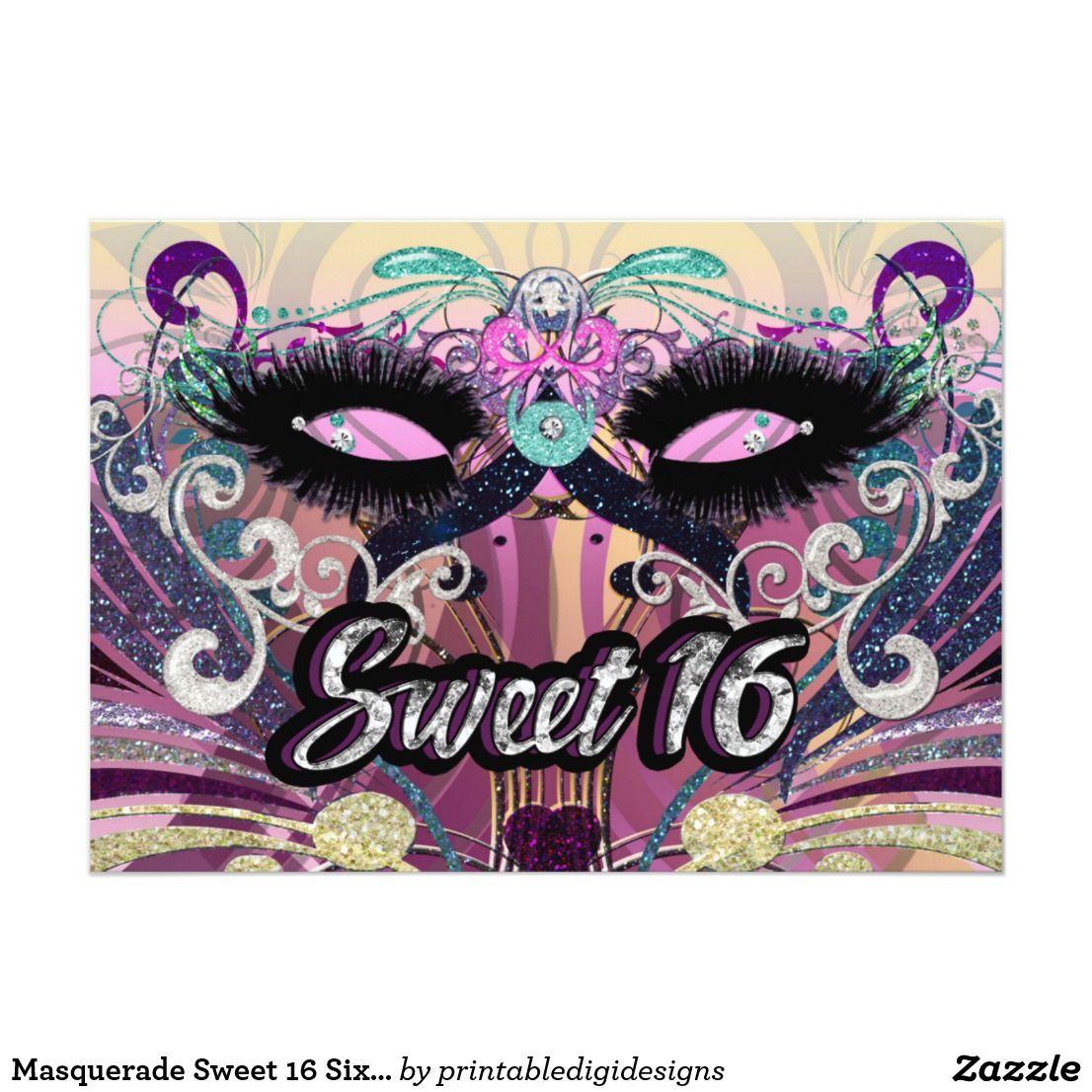 Masquerade Sweet 16 Sixteen Party Mask Invitation | Party masks ...