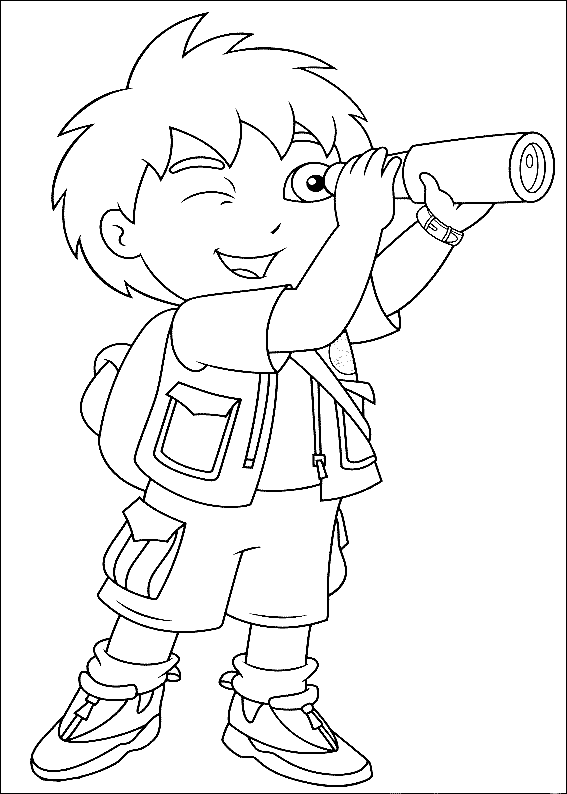 Diego with the spyglass coloring page