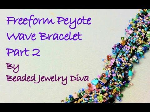 "Freeform Peyote Tutorial: Part 2 ""The Wave"" Beaded Bracelet Tutorial - YouTube"