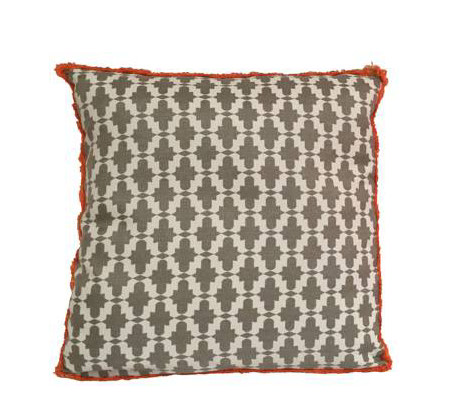 SOHIL I 'Marrakech' pillow with typical islamic pattern in grey and white with orange fringe border from our In/Outdoor collection www.sohildesign.com