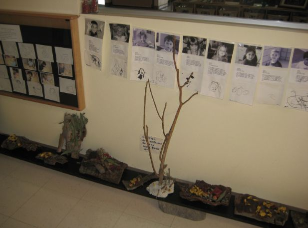 """Documentation and children's art display with a small sign that says """"Children are welcome to their art work home"""" at Cuyamaca College - Child Development Center - Image taken by Anna Day ≈≈ For more inspiring pins: http://pinterest.com/kinderooacademy/documentation/"""
