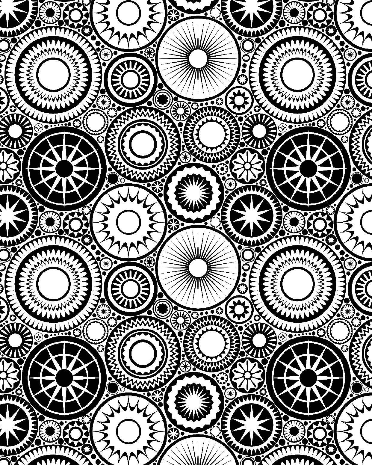 Круги и звезды | Абстрактные раскраски, Бесплатные ...