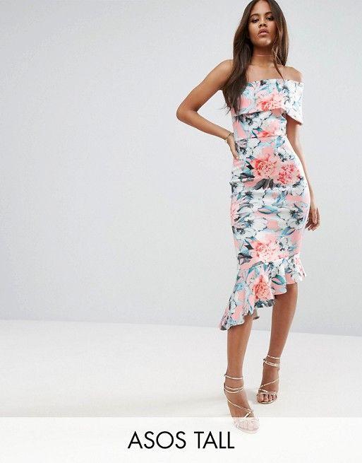 318e3e1b31 Compra Vestido midi de neopreno con diseño asimétrico con estampado floral  y bajo de volante de ASOS TALL en ASOS. Descubre la moda online.