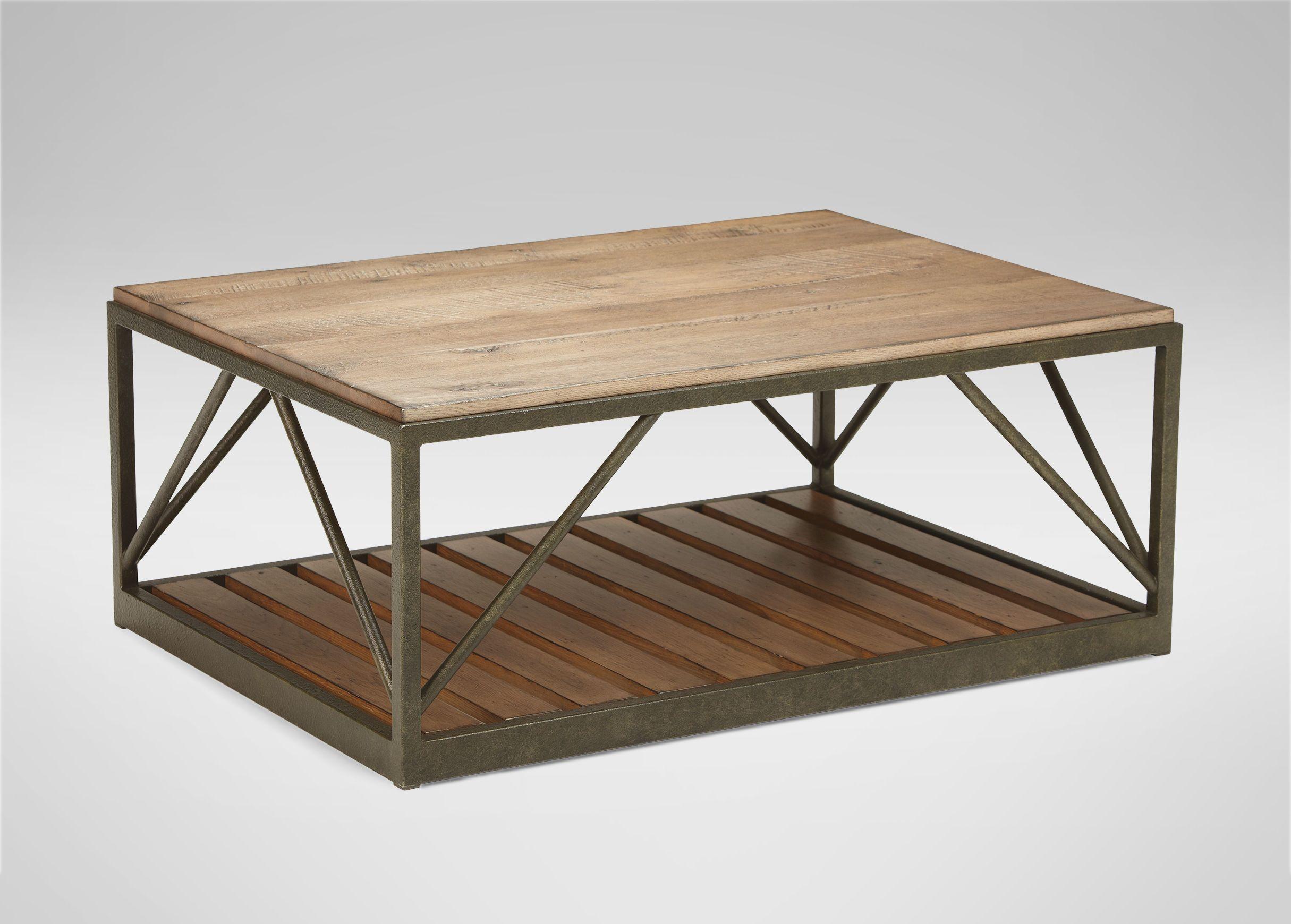Beam Metal Base Coffee Table Metal Wood Coffee Table Small