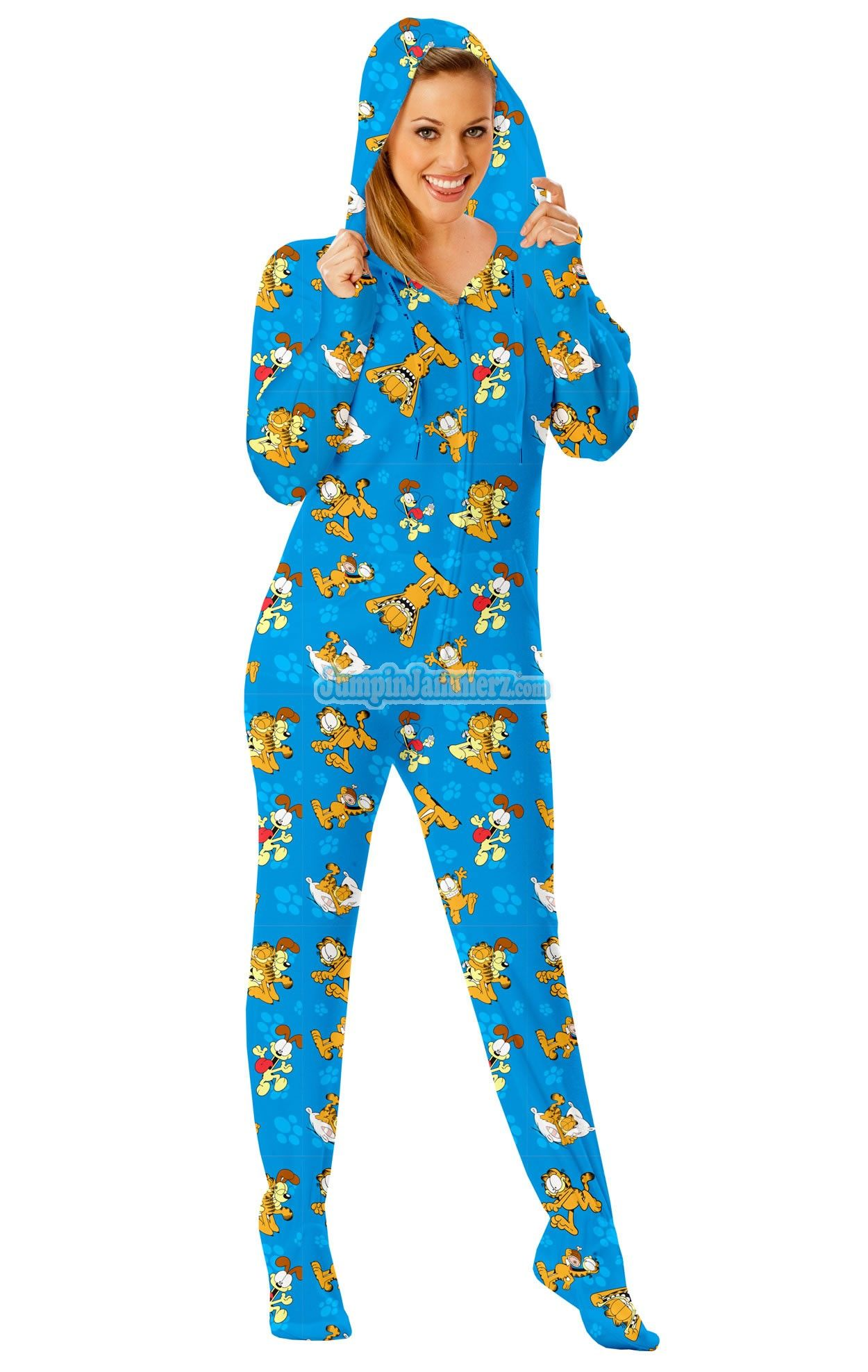Garfield Footed Pajamas -These Footies are loaded with extras featuring   Hoodies 931a6cfbd
