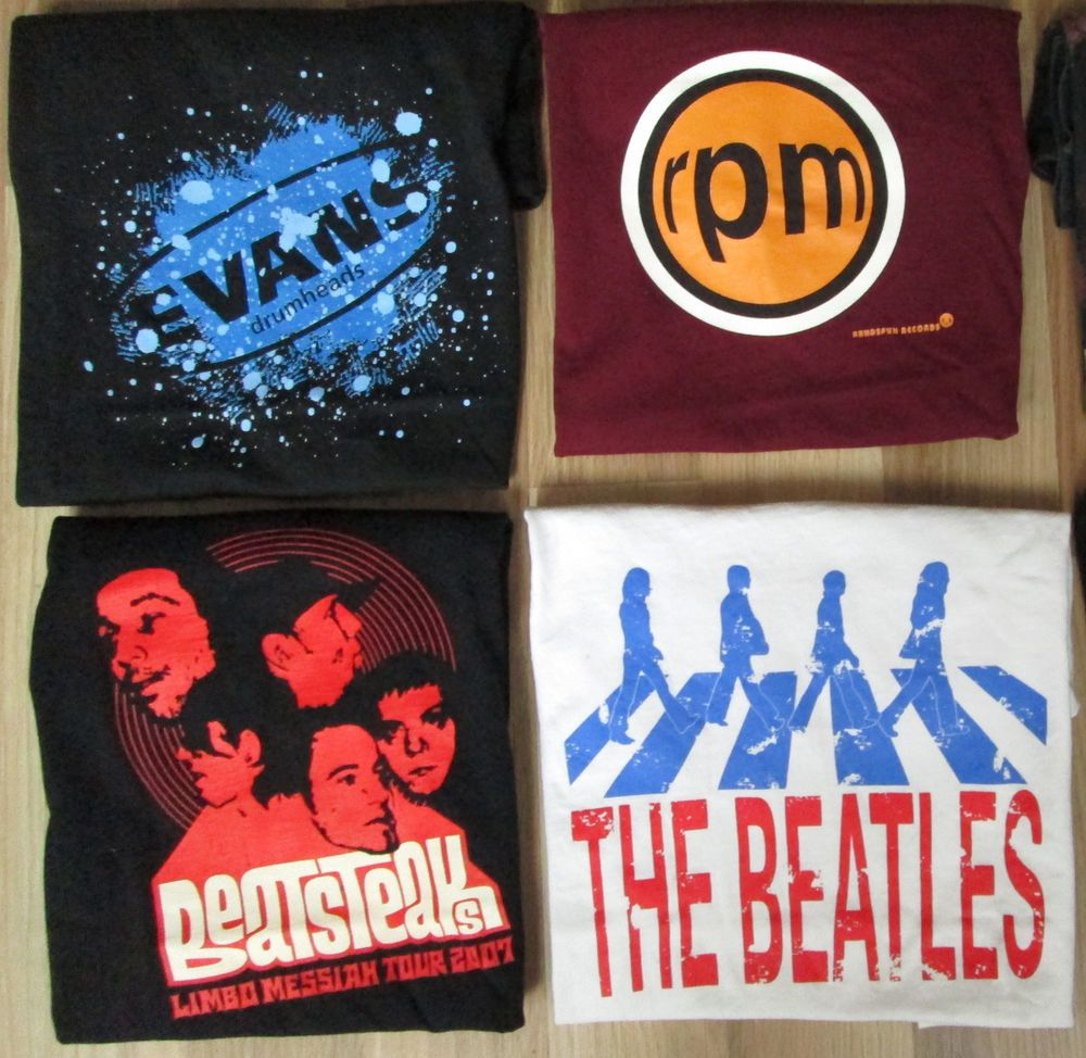 Lot of 4 Mens Music T-shirts Sz S / M Evans Drumheads Beatsteaks The Beatles RPM…