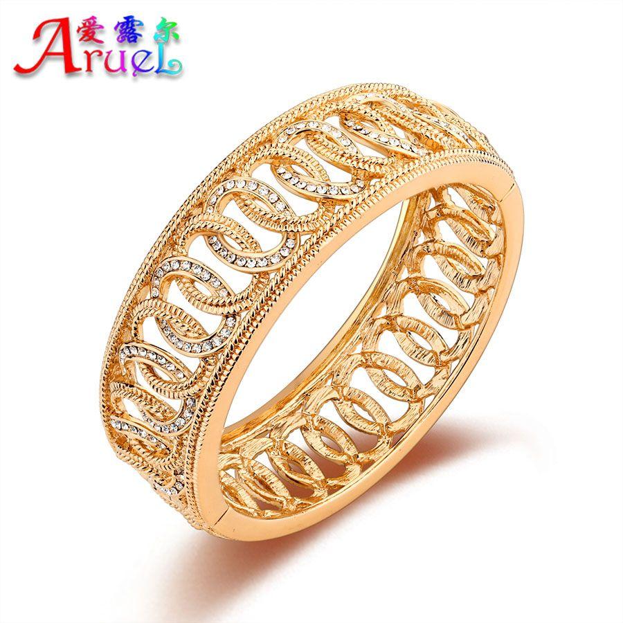 fashion women gold plated bangles jewelry luxury wedding crystal ...