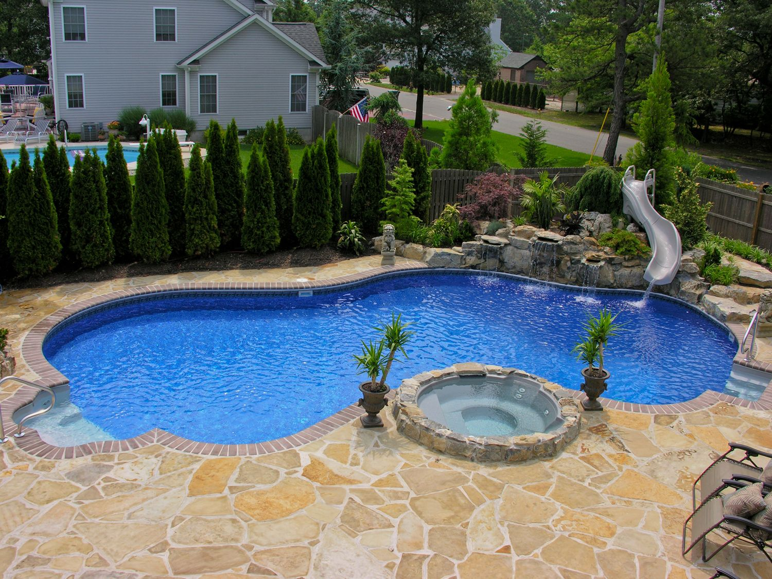 Pool town nj inground swimming pools with spa and slide for Pool design with hot tub