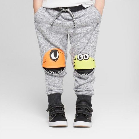 20b25f49989 Toddler Boys  Jogger Pants with Monster Knee Hits - Cat   Jack™ Gray 18M    Target