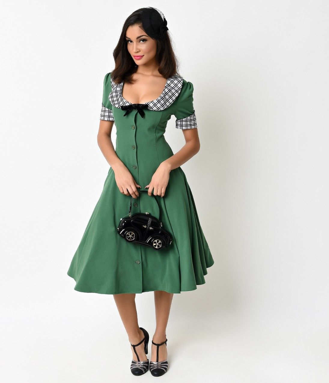 1940s Style Green & Plaid Button Up Claire Swing Dress | Allures ...