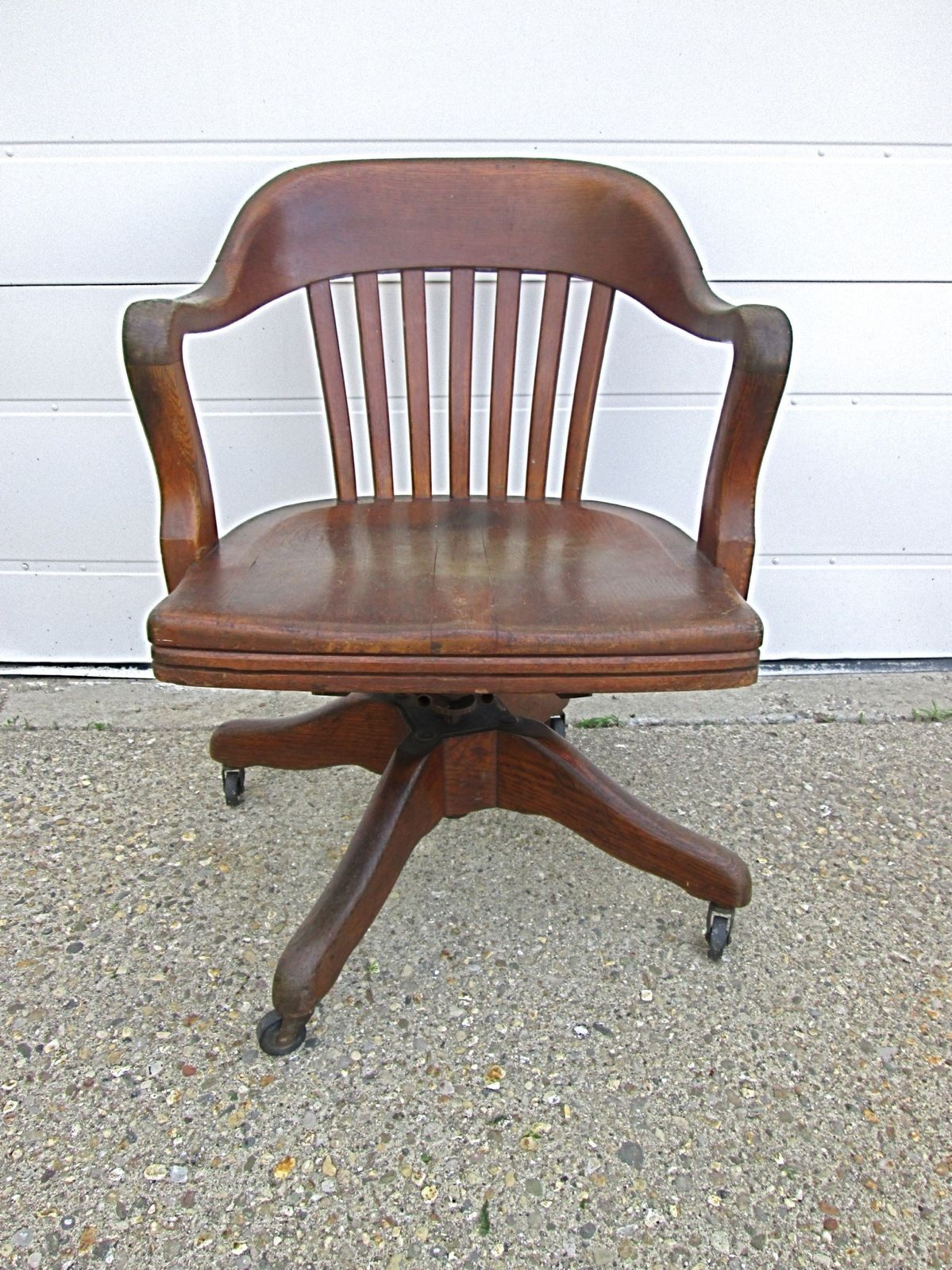 Wooden Bankers Chair Antique Vtg Marble Shattuck Wood Oak Swivel Office Desk Courtroom