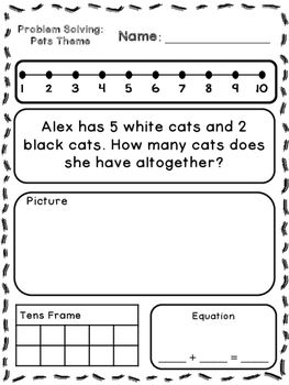 Pets Theme Addition Subtraction Word Problems Kindergarten First Subtraction Word Problems Addition Words Word Problems Kindergarten Kindergarten math problem solving worksheets