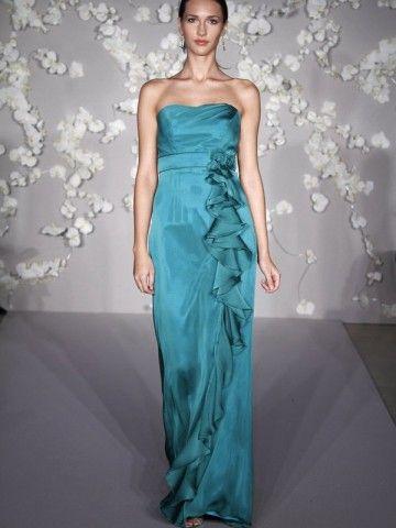 2014 Style Sheath/Column Strapless Lace Sleeveless Floor-length Chiffon Prom Dresses/Evening Dresses