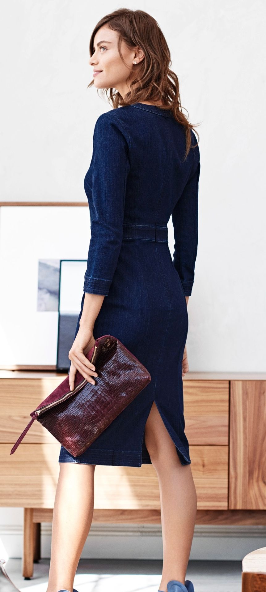 Our Banded Waist Long Sleeve Dress Proves That Denim Is For More Than Just Jeans Banana Republic