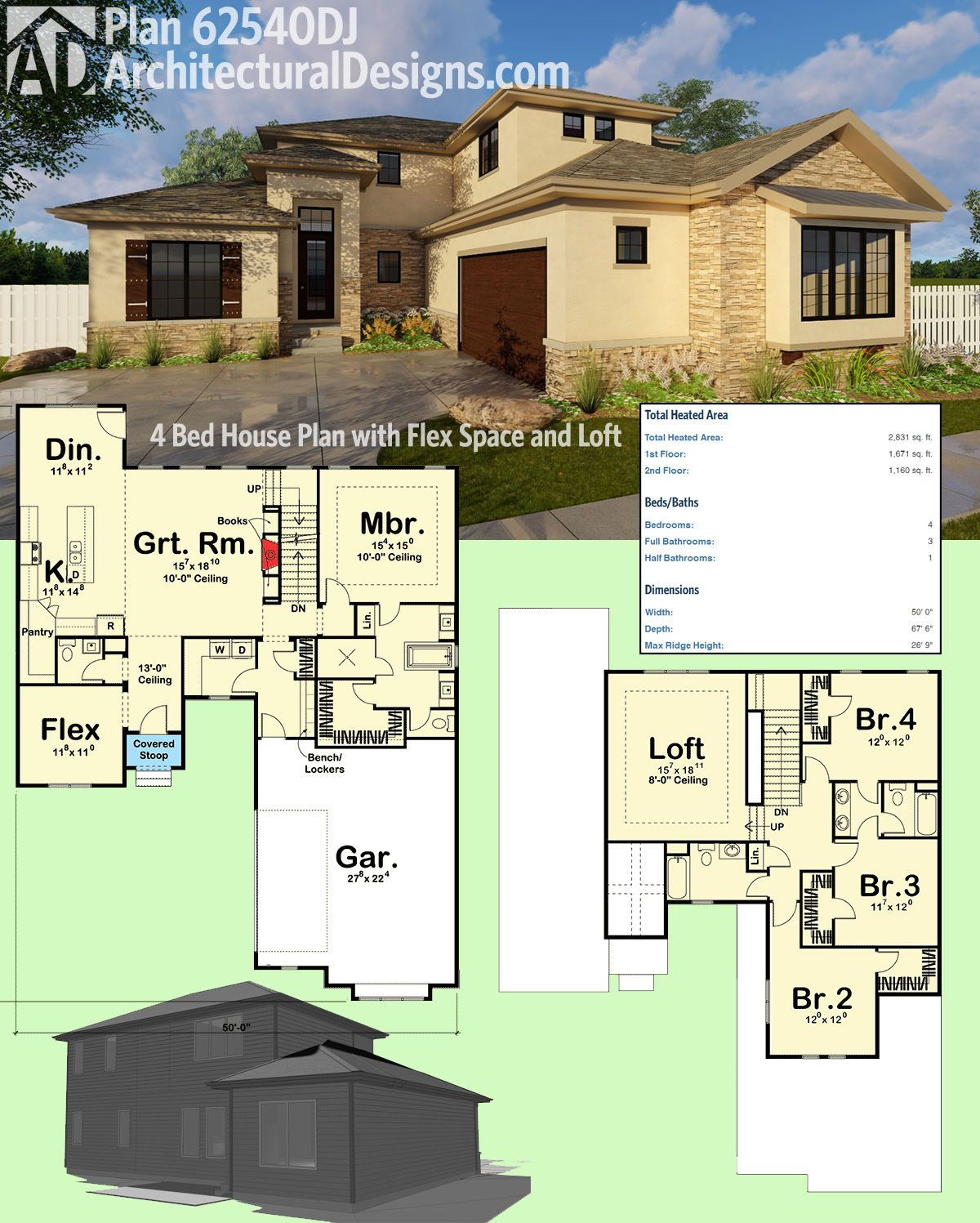 Plan 62540DJ: 4 Bed House Plan With Flex Space And Loft