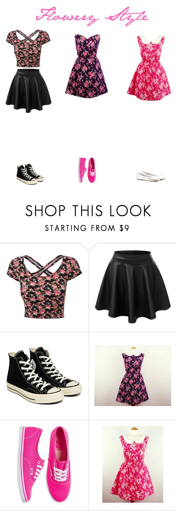 """""""Flowery Style"""" by anita-10lol ❤ liked on Polyvore featuring LE3NO, Converse, Vans, ALDO, women's clothing, women, female, woman, misses and juniors"""