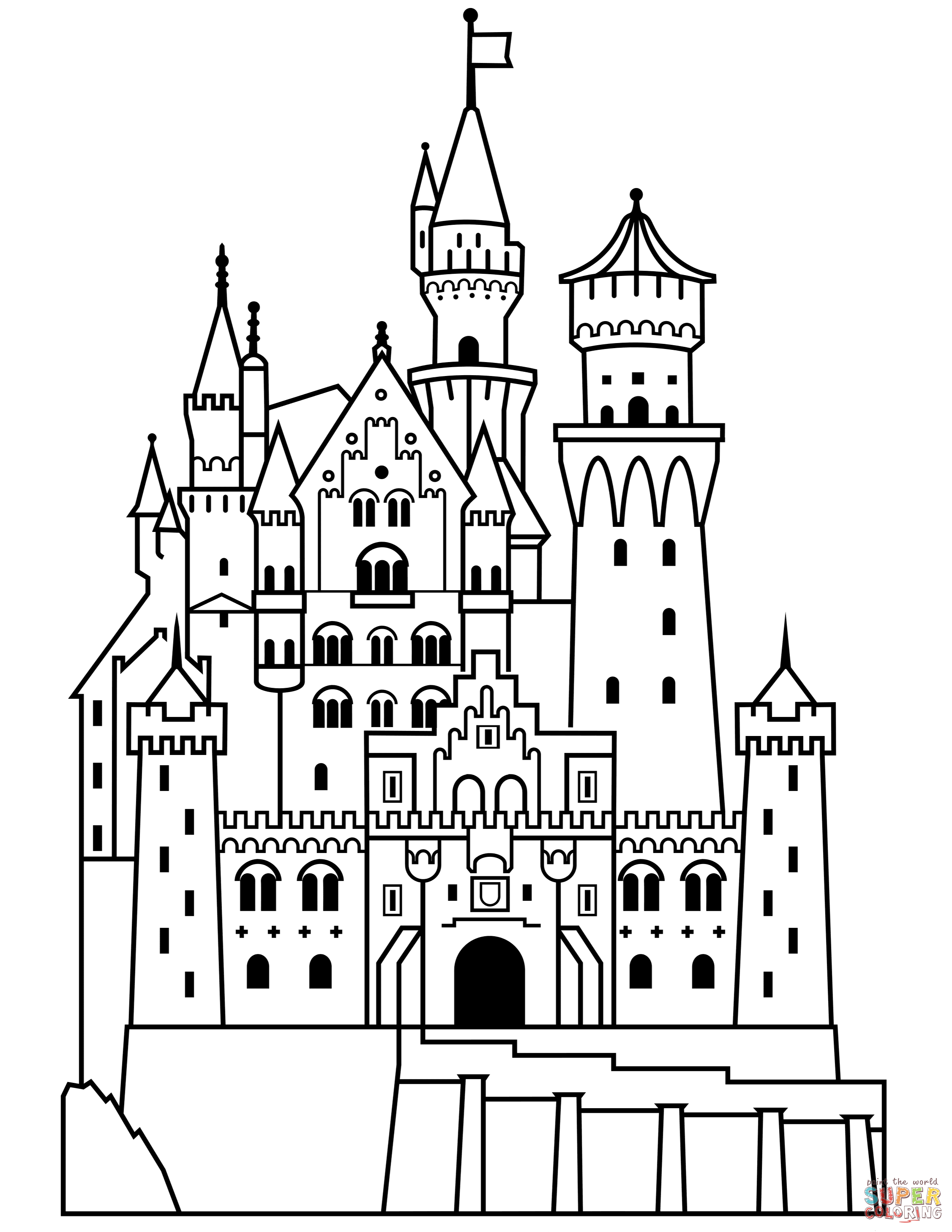 Neuschwanstein Castle Coloring Page From Germany Category Select From Printable Crafts Of