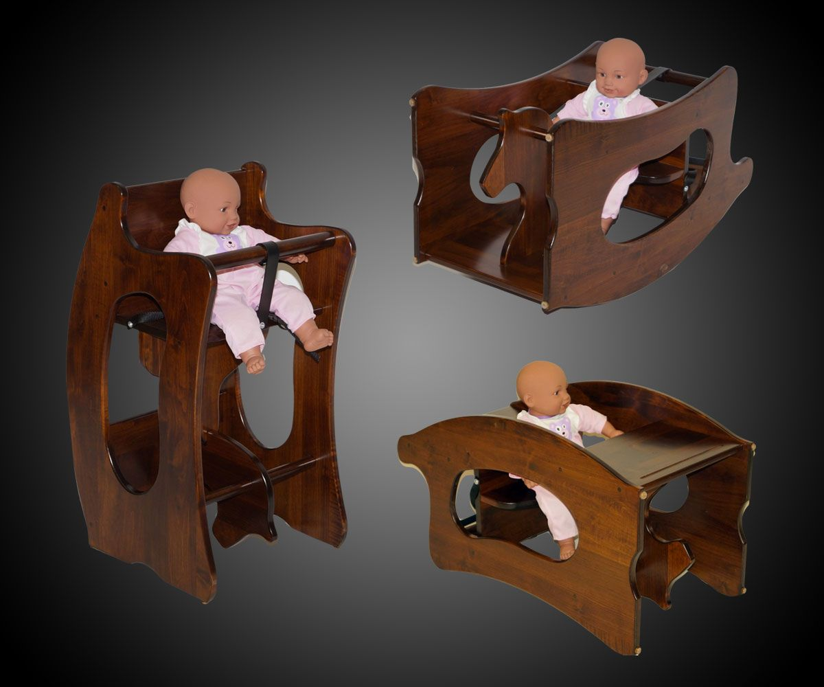 Amish wooden high chairs - 3 In 1 Amish High Chair