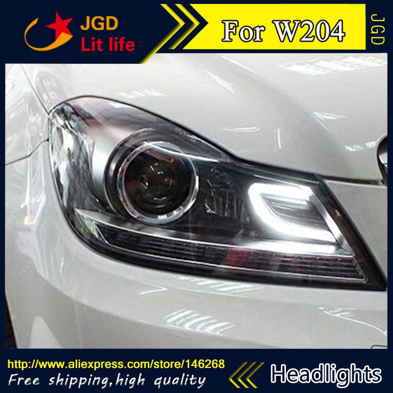 Free Shipping Car Styling Led Hid Rio Led Headlights Head Lamp Case For Benz W204 2011 2013 Bi Xenon Lens Low Be Led Headlights Cool Things To Buy Car Lights
