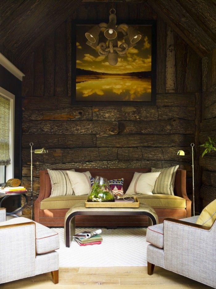 Fancy rustikale holzwaende wohnideen wohnzimmer f r echte eyecatcher