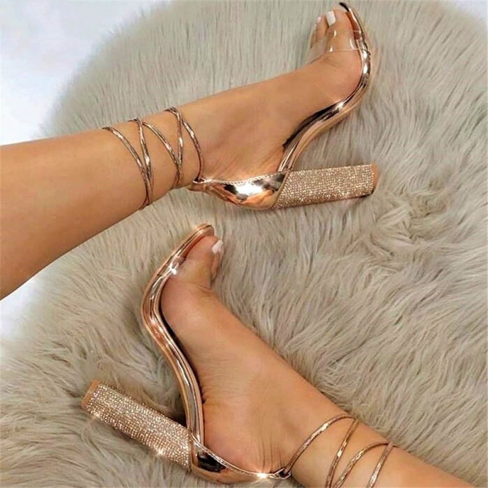 Dropshipping Size34-43 Women Heeled Sandals Bandage Rhinestone Ankle Strap Pumps Super High Heels 11 CM Square Heels Lady Shoes I www