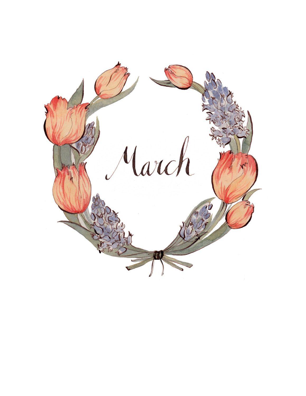 March wreath Beautiful Botanical Illustrations