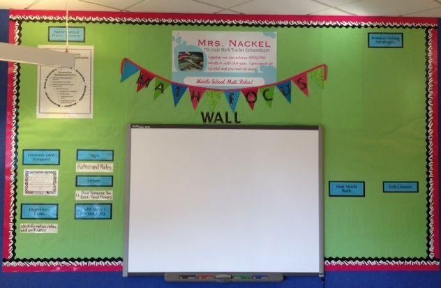 Smart board in math classroom decor