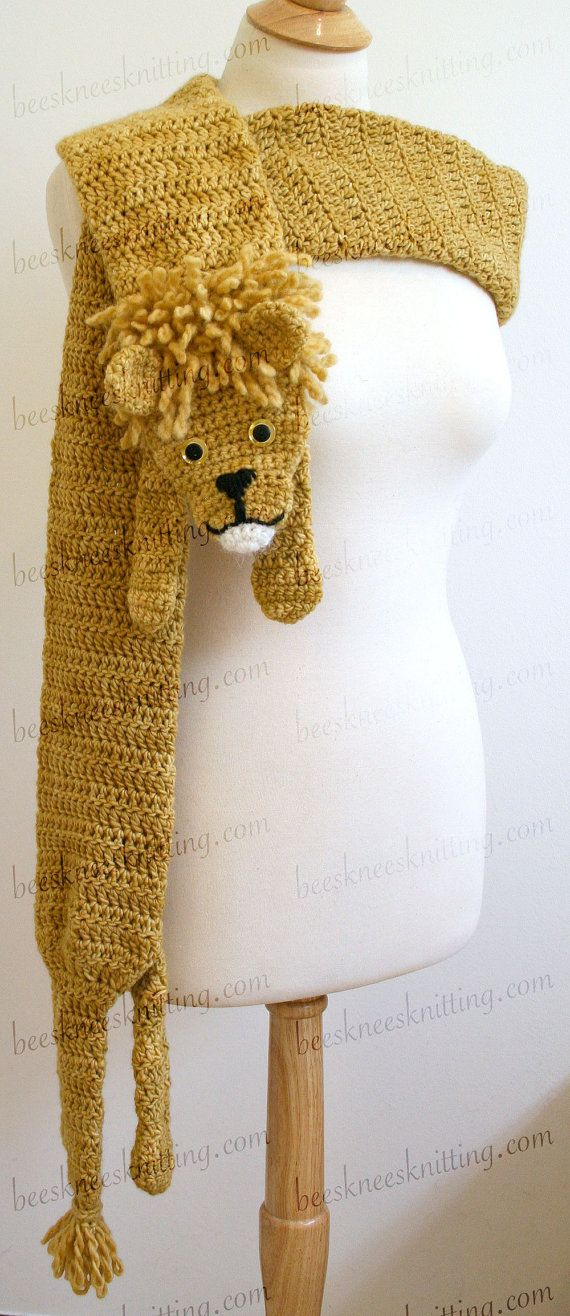 Digital PDF Crochet Pattern for Lion Scarf - DIY Fashion Tutorial ...