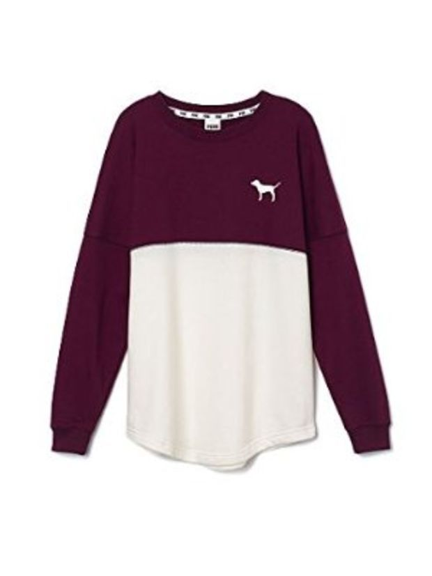 85a0b52124e40 Victorias Secret  Pink Nation  Varsity Crew Pullover Maroon and White  Sweater Size Small