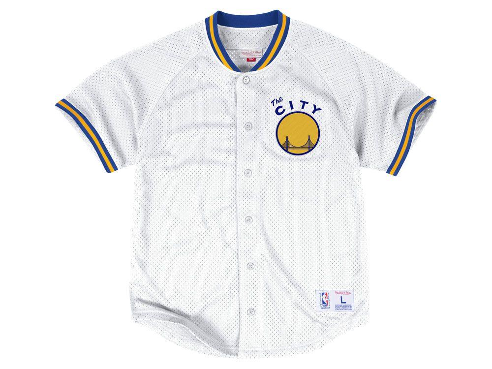 Golden State Warriors Mitchell   Ness NBA Men s Seasoned Pro Mesh Button  Front Jersey a8f1bf8e3