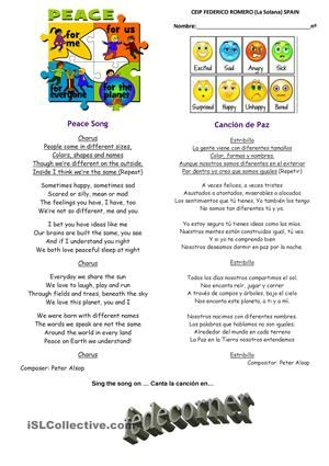 Peace Song English Spanish Esl Pinterest Peace Songs Spanish