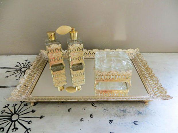 Vanity Set Vanity Tray Mirrored Tray Vanity Box Perfume Bottle Gold Filigree Tray Dresser Tray Dresser Mirror Wedding Gift Boudoir Tray