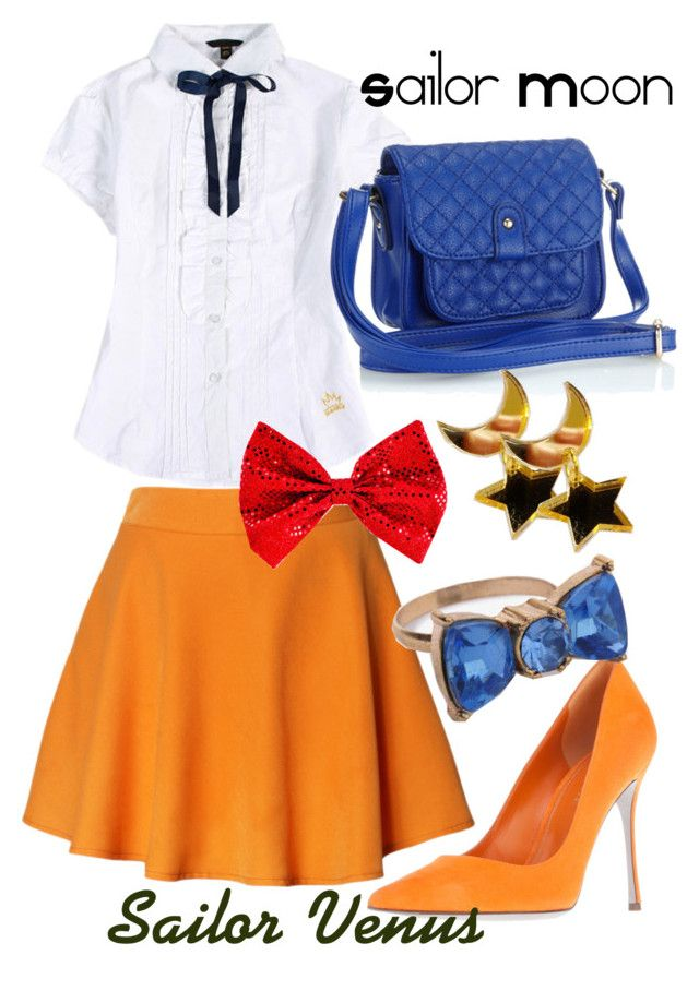 """""""Sailor Venus, from Sailor Moon"""" by blackrabbitmegapig ❤ liked on Polyvore featuring Chicwish, Sergio Rossi, Forever 21 and Accessorize"""