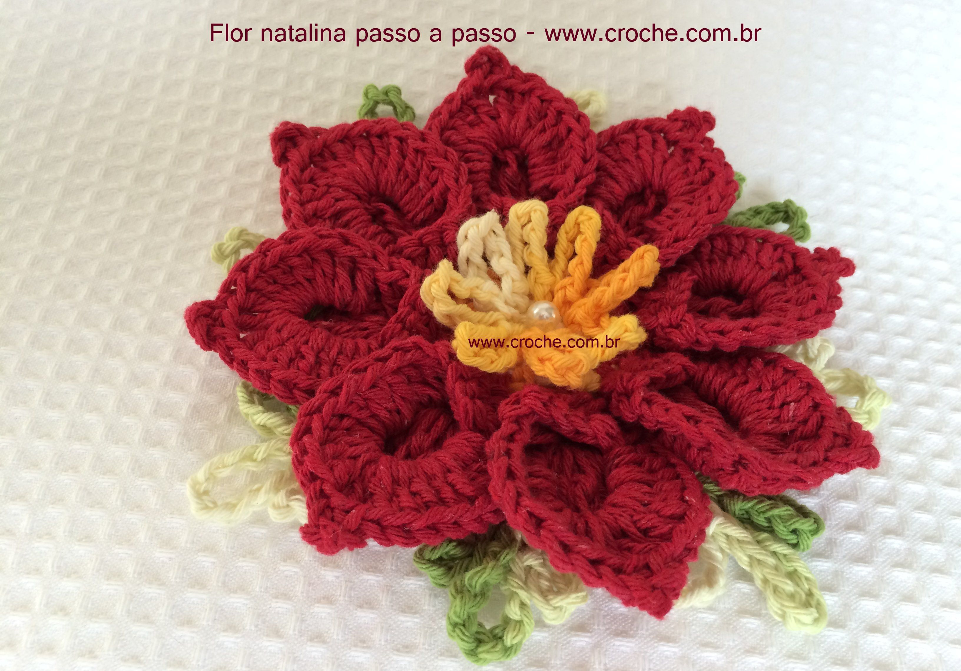 Flor Natalina Passo A Crochet Flowers And Crocheted Rose Flores Crochetflowers Pretty Flower Diagram