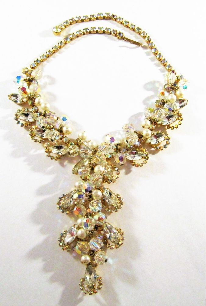 VINTAGE D&E JULIANA AURORA BOREALIS AB RHINESTONES & DANGLE BEADS BIB NECKLACE #JULIANA #BIB