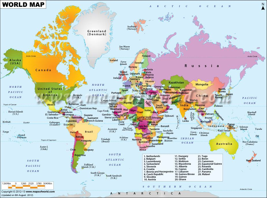 World Map showing all the Countries of the World with political