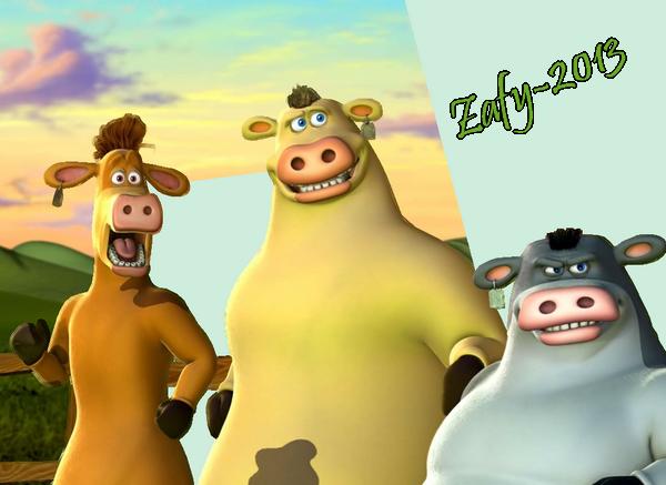 Render autres dessins anim s renders la ferme en folie vache grise brune jaune sabot ore - Vache en folie ...