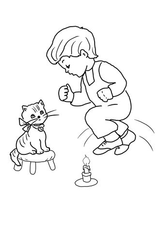 Jack Be Nimble Jack Be Quick Coloring Page Animal Nursery Rhymes