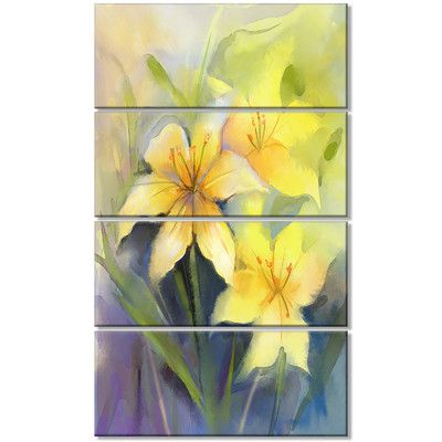 Design Art Watercolor Painting Yellow Lily Flower 4 Piece