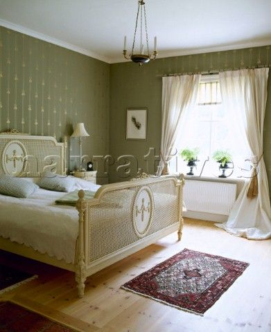 Country Green Bedroom Gustavian Bed Cream Curtains
