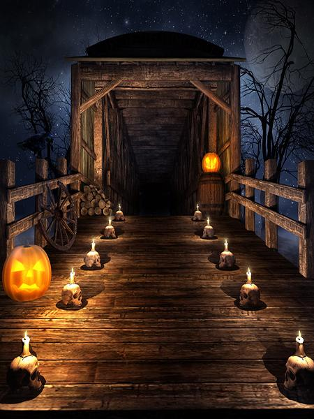 Photo of Kate Halloween Haunted House Backdrop bridge pumpkin