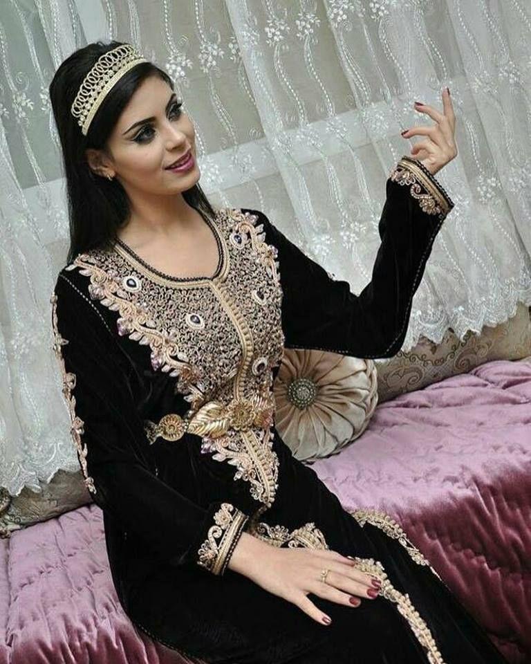 Caftan mariage Velours 2018 - takchita de mariée en couleur Noir très chic  en vente sur mesure a72d857b228