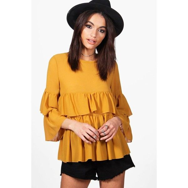 33c6f4449aa Boohoo Ella Ruffle Tiered Blouse ($30) ❤ liked on Polyvore featuring tops,  blouses, off the shoulder blouse, yellow off the shoulder top, off the  shoulder ...